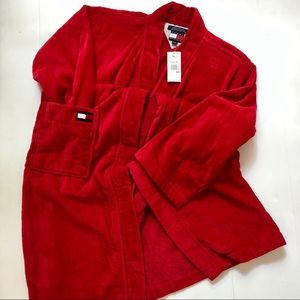 NWT TOMMY HILFIGER Red Terry Logo House Bath Robe